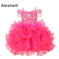 New Little Girl Ball Gown Flower Girl Dresses Pink Color Beaded Organza Pageant Dresses For Kids Party Gown First Communion