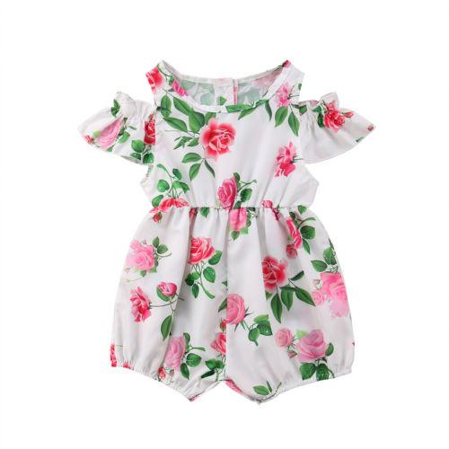 Newborn Baby Girls Kid Off Shoulder Floral Romper Jumpsuit Floral Clothes Sets
