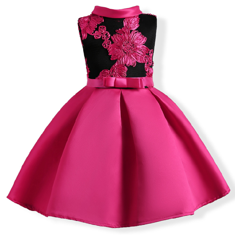 2017 autumn Girls Elegant Prom Dress Baby Embroidery Rose