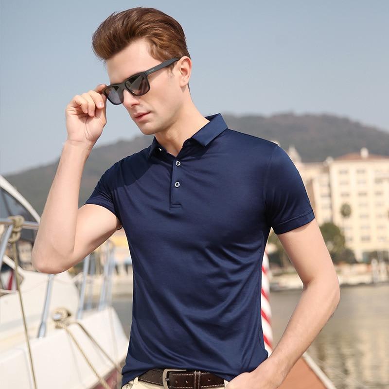 2019 Mens Polo Shirt Brands Natural Silk Short Sleeve Polo Shirts Men Solid Color Top-grade Ice Silk Men Polo Polos Man Homme