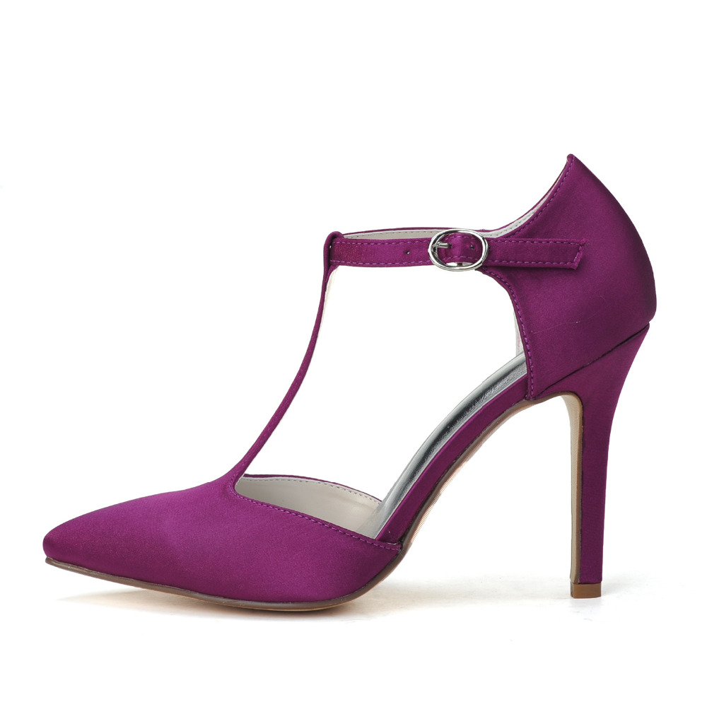 Creativesugar Elegant T strap pointed toe high heel pumps purple ...
