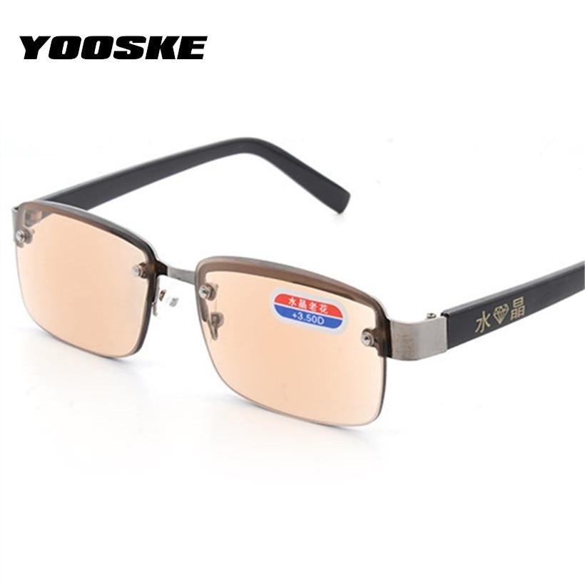 YOOSKE Rimless Classic Style Glass Lenses Reading Glasses Plain Mirror Men Women Unisex Eyewear