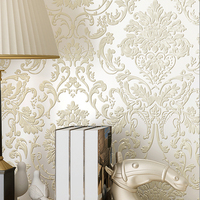 Luxury 3D Embossed Damascus Non woven Wallpaper Roll European Style Bedroom Living Room TV Background Wallpaper Gold Home Decor