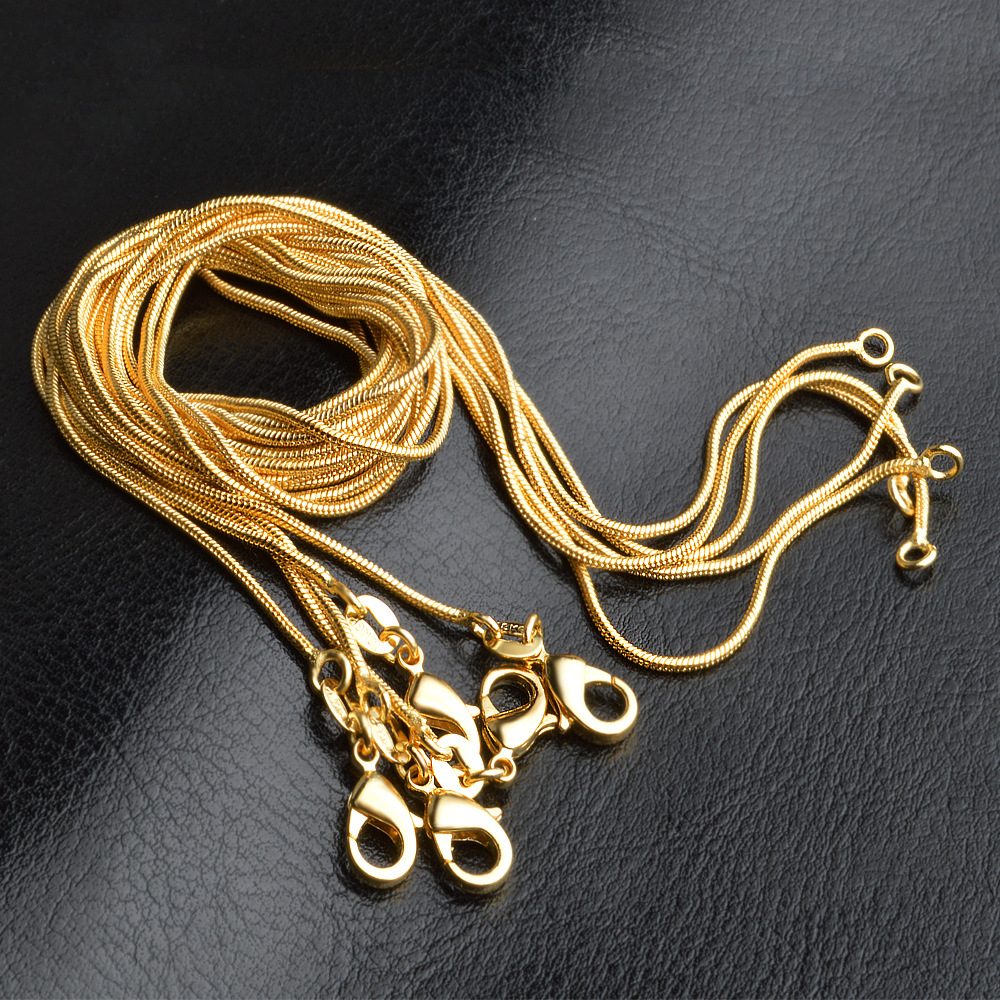 LJ&OMR New Jewelry 18KGP Gold Snake Chains 1MM 16 18 20 22 24 26 28 30