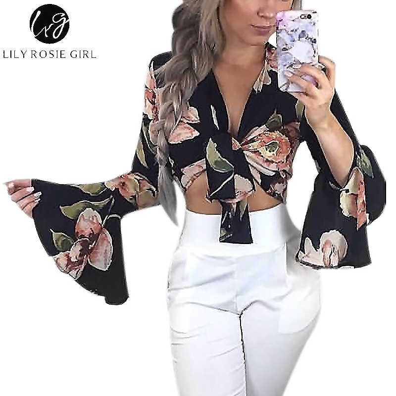Lily Rosie Girl Bow Tie Crop Sexy Women Blouses Floral Print Long Flare  Sleeve Short Shirts 7873aa2059d