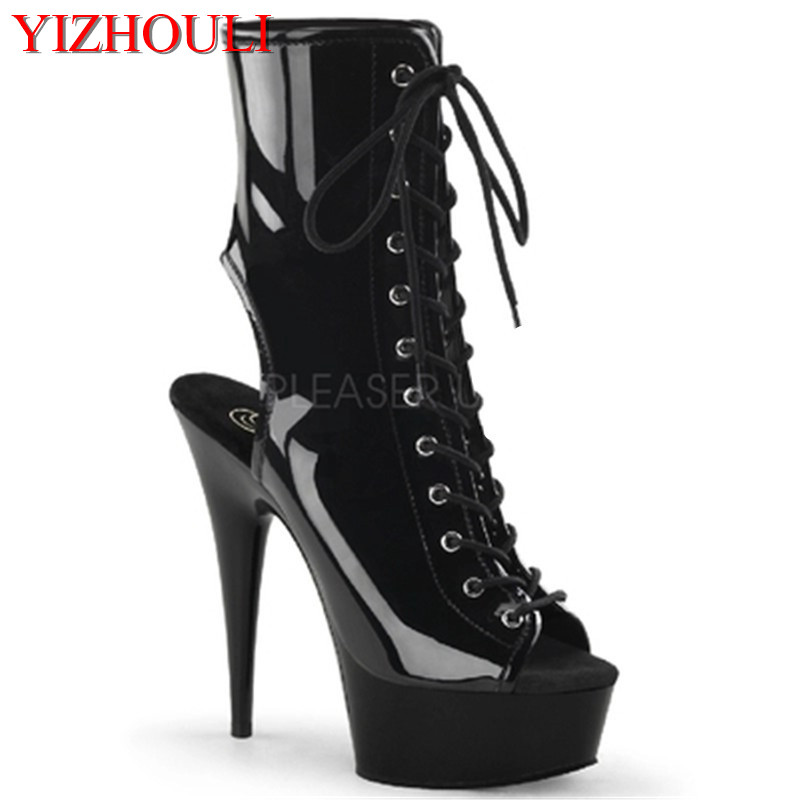 15 cm fashion stage shoes, banquet thick waterproof platform boots, fish mouth inner zipper, PU material short boots15 cm fashion stage shoes, banquet thick waterproof platform boots, fish mouth inner zipper, PU material short boots