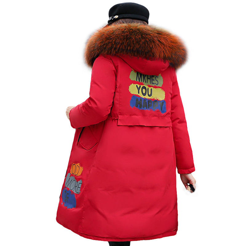 Fashion Winter Women Down Cotton Padded Jacket Coat Female Thick Long Down   Parkas   Two-sided wear slim Large Fur Coat 2019 New