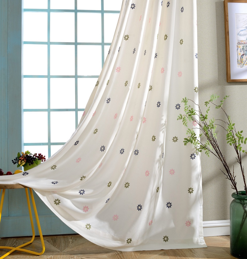 Colorful Living Room Curtains: Colorful Snowflake Embroidered Modern Curtains For Living
