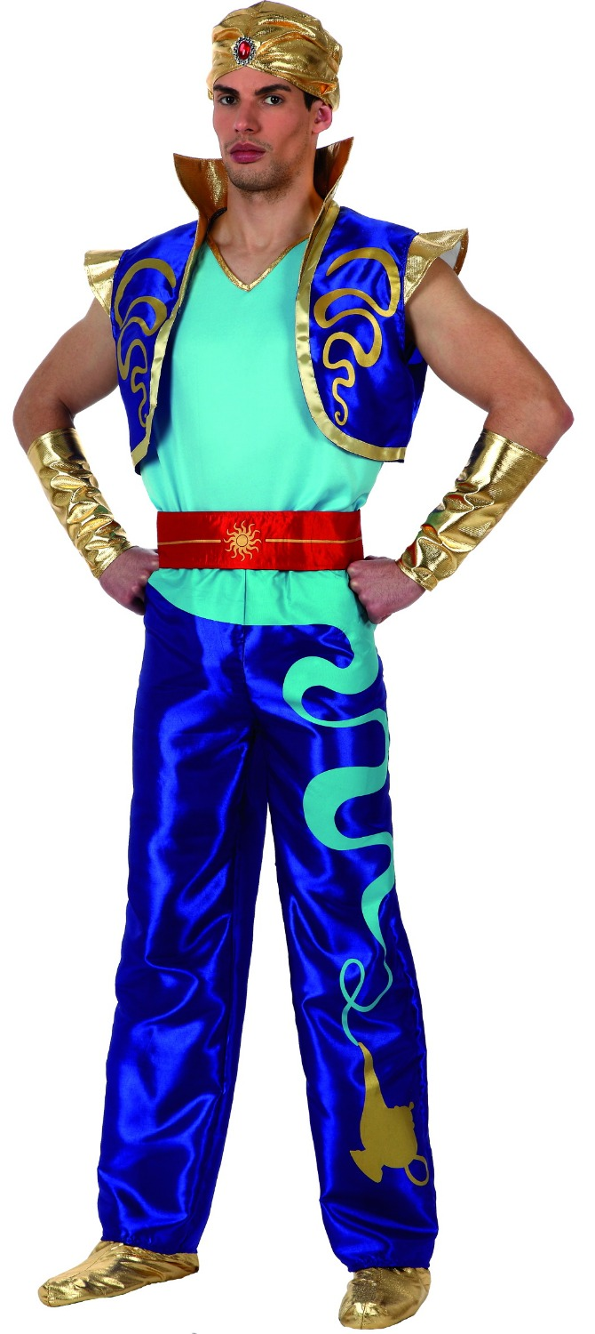 Wholesale - 2016 New Fashion Style Carnival Costume Cosplay Party Clothing For Man Knitted Aladdin Costumes Superhero Blue Color