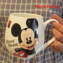2017 heißer Verkauf Cartoon Becher Mickey Minnie Keramik Tassen Milch 420 ml Kreative Mode Paare Becher Kaffee Wasserbecher Niedliche Frühstück tasse