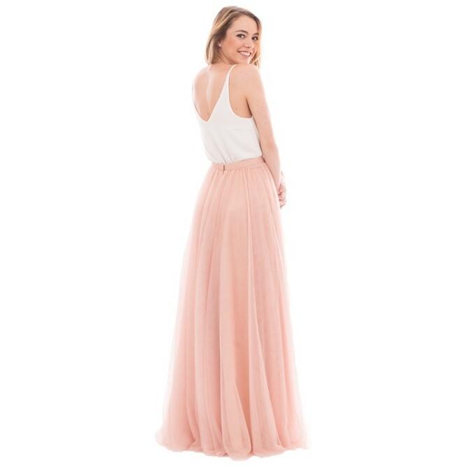 Elegant A-Line V-Neck Tulle Skirt Long Bridesmaid Dress 4
