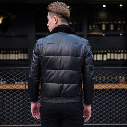 KMETRAM 2019, высокое качество, кожаный пуховик, мужской, роскошный, натуральная кожа, мужские s 100%, овчина, зимняя куртка, черный, 4XL, куртка, HH509 - 4