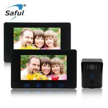 Big discount Saful 7″ Color Screen Wired Video Door Phone Intercom System unlock function Night vision 1 Waterproof Door Camera + 2 Monitor