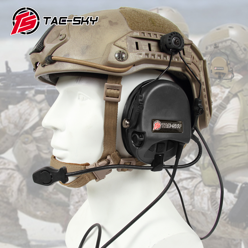 TAC-SKY TEA Hi-Threat Tier 1 Silicone Earmuff Version Noise Reduction Pickup Headset-BK