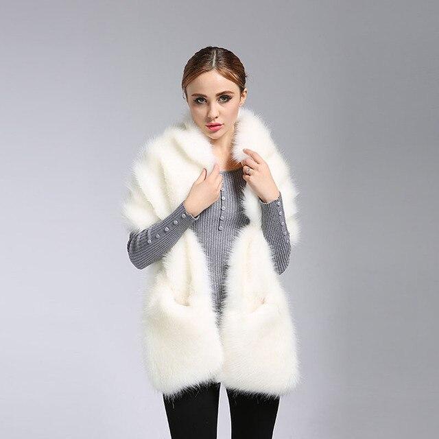 Fashion Womens Fluffy Winter Warm Coat Faux Fox Fur Shawl Stole Wrap Shrug Scarf  -Y107