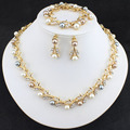 Hot Worldwide Imitation Pearl Gold Plated Simple Elegant Bridal Jewelry Sets Kit Gift Fast Free Shipping New  Selling Wedding