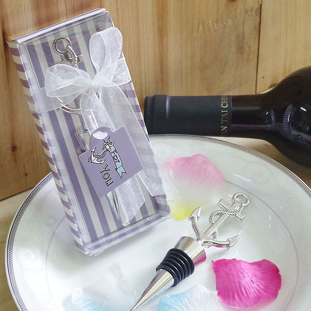 180pcslot unique wedding favors and gift chrome anchor design wine stoppers bridal shower favor