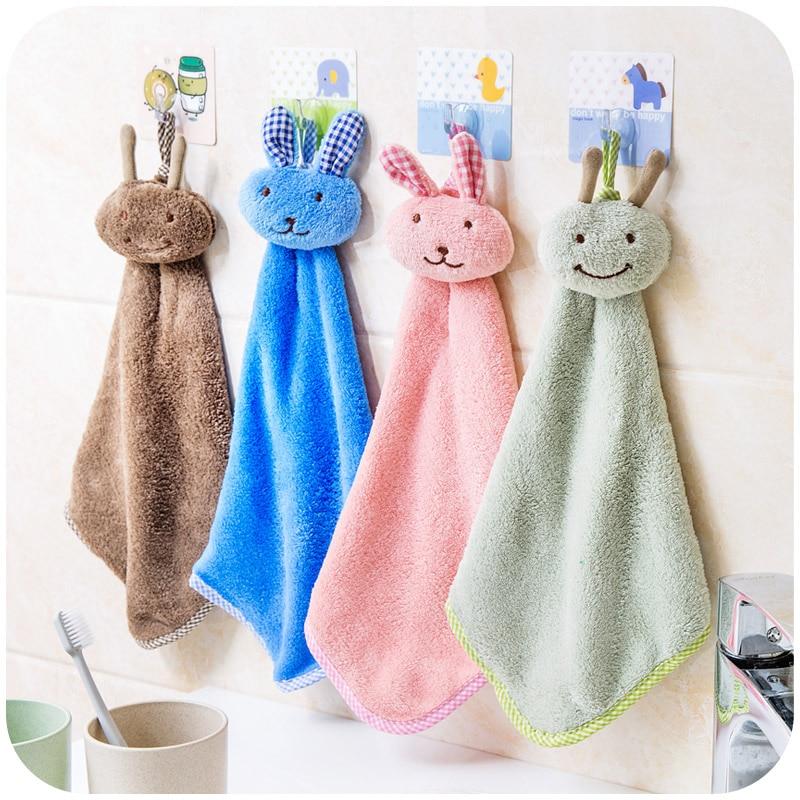 Bathroom Cartoon Rabbit Hand Towel Cute Hanging Candy Colors Soft Bathing Plush Dry Dishcloth Dish Kitchen Baby Wipe Towel New