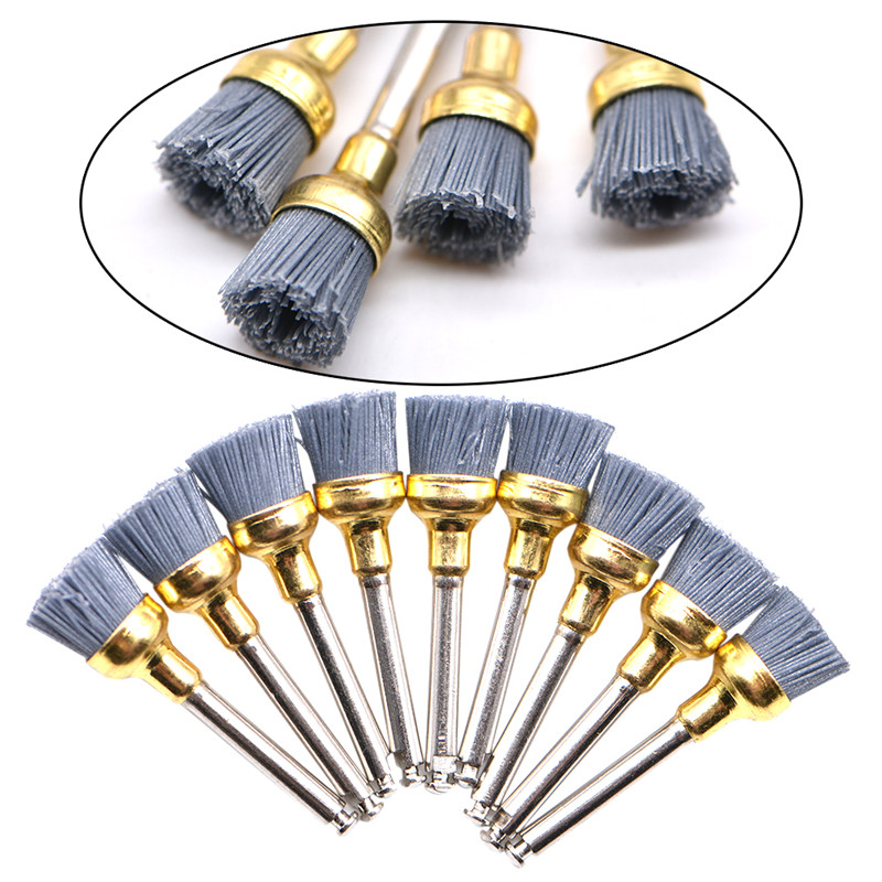 20Pcs/lot Dental Polishing Brush Silicon Carbide Nylon Latch Flat Polishing Polisher Prophy Brushes Bristles Dental Lab Material
