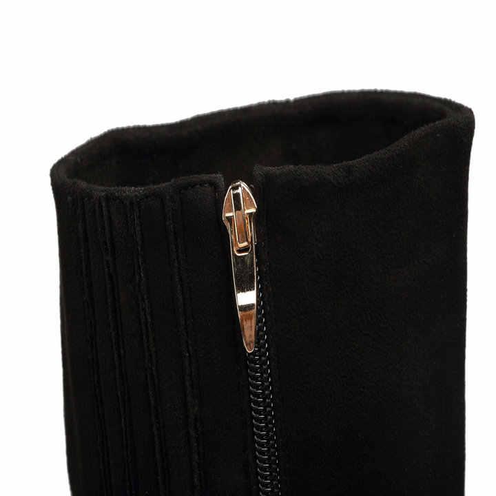 Kadın Akın Diz Yüksek Çizmeler Kare Yüksek Topuk Moda Platformu Çizmeler Kristal Fermuar Sonbahar Kış Çizmeler kadın ayakkabısı 2018 Yeni