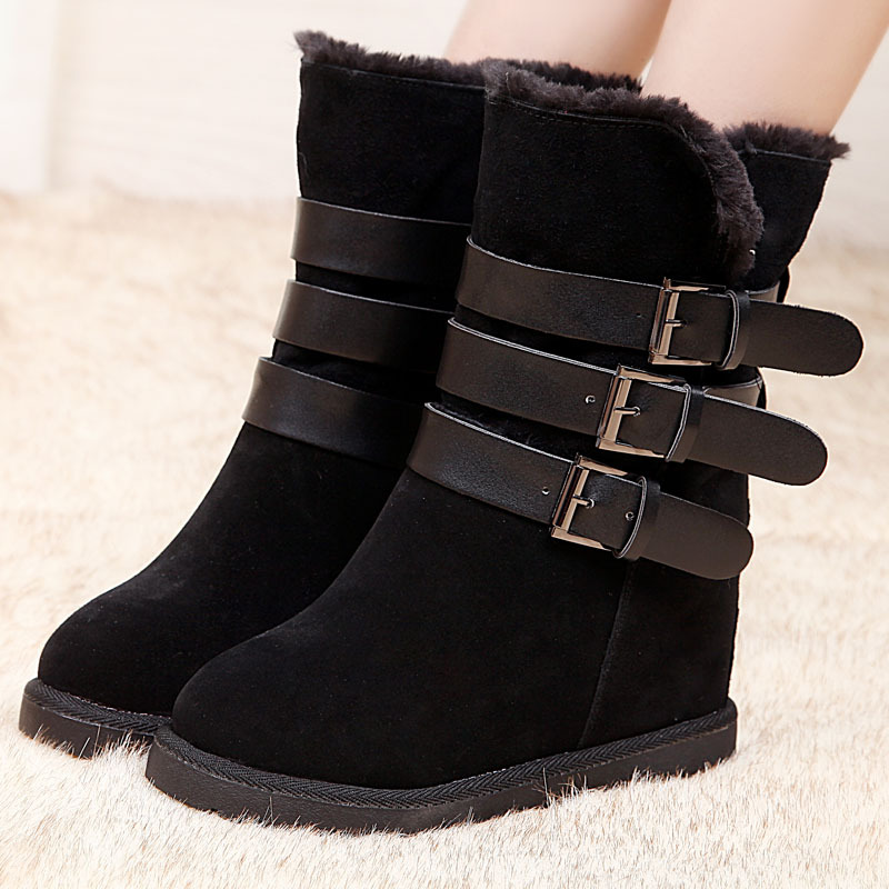 2016 Women Boots Genuine Leather Fashion Warm Boots women's Snow Boots Ankle Boots For Women Black Color Big size(35-40)