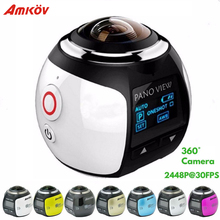 лучшая цена Amkov 4K 360 Panoramic Camera  Ultra HD Wifi 2448*2448 Action camera Waterproof Sport Driving VR Sport Camera