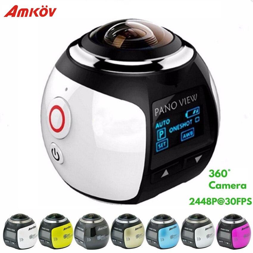 Câmera de Ação à Prova Amkov Câmera Panorâmica Ultra hd Wifi 2448*2448 Dwaterproof Água Esporte Condução vr 4 k 360