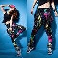 New Arrival Fashion HipHop Women's Casual Colorful Tie Dye Doodle Harem Baggy Dance Sweat Pants Trousers Costume