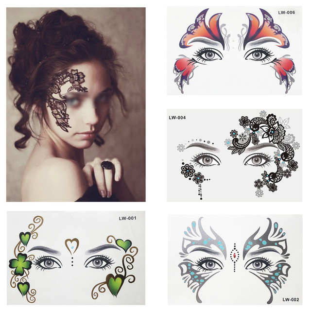 ea7864513a522 Temperory Tattoo Golden Face Sticker And Forehead Eye Makeup Beautiful  Special Colorful Tattoo Paper For women Girls Boys Men