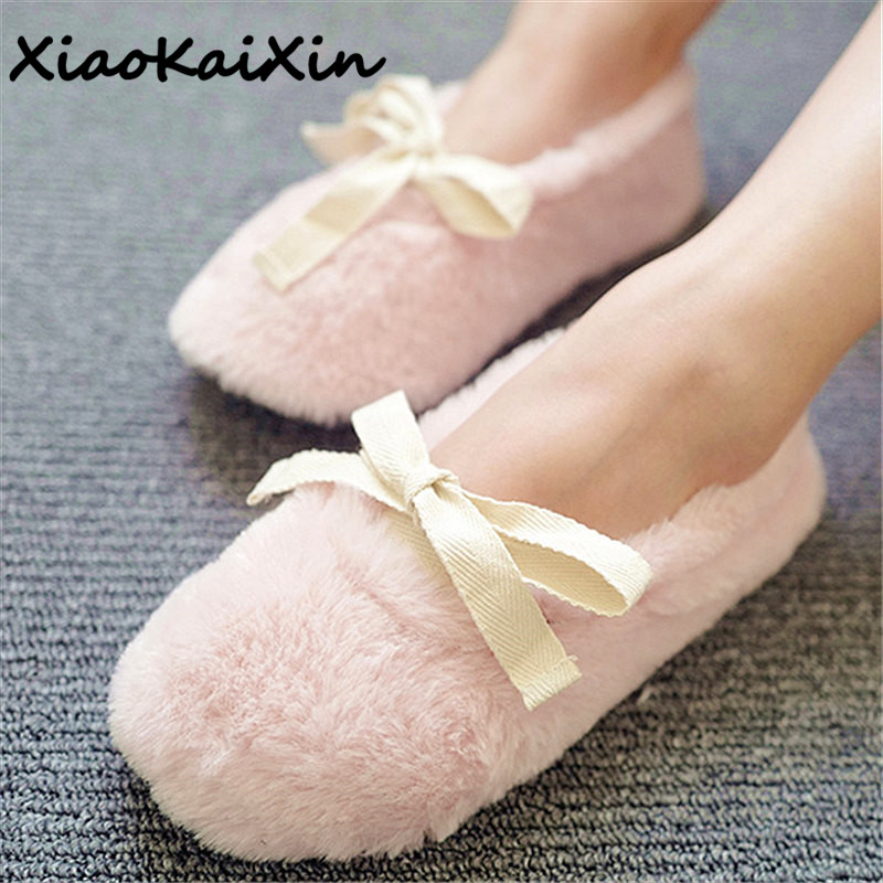 Winter Women Home Slippers with Faux Wool Fur Soft Warm Indoor Bowtie House Bedroon Shoes Woman Ankle Strap Flats Female Slides vesonal brand faux fur women shoes flats 2017 winter warm velvet female fashion ladies woman sneakers casual footwear tsj 189