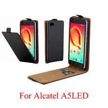 For Alcatel A5 LED 085D 5085Y Cover Luxury PU Leather Flip Case Vertical Open Down Up for A5LED