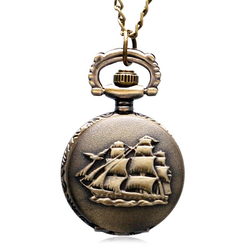 Little Cute Retro Antique Jewelry Vintage The Sea Sailing Pattern Pocket Watch Necklace Chain Men Women Children Watch Top Gifts