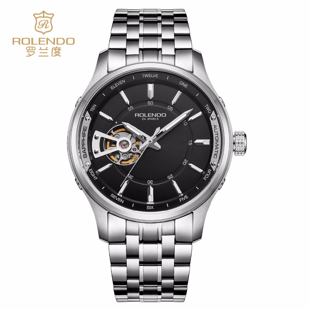 Rolendo 2018 Top Brand Luxury Hot Sale Automatic Men Watch Black Skeleton Steel Case Watchband Waterproof Man Mechanical Watches цена