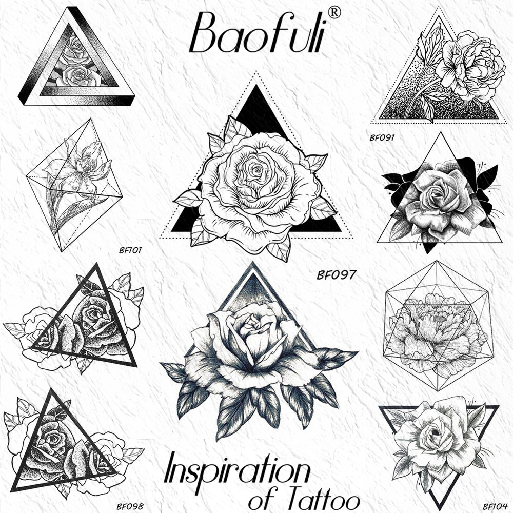 Geometric Rose Triangle Temporary Tattoos Sticker Peony Flower Leaves Black Fake Tatoo Draw Body Art Waterproof Arm Neck Tattoos