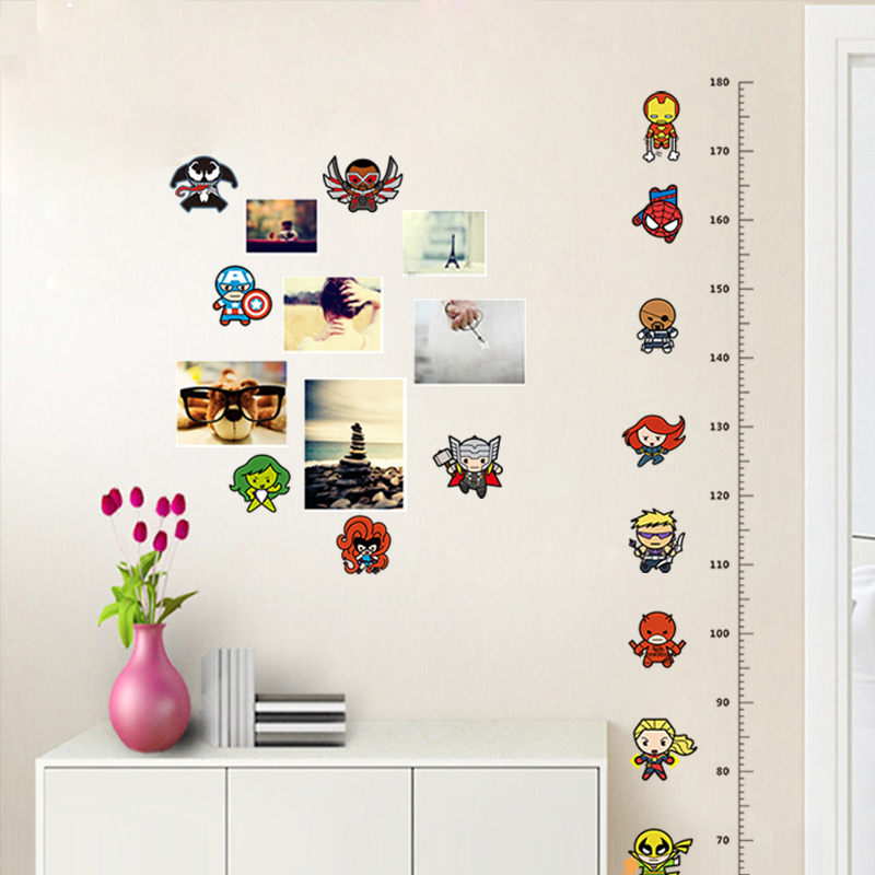Spiderman avengers growth chart wall sticker free for Stickers pared bebe