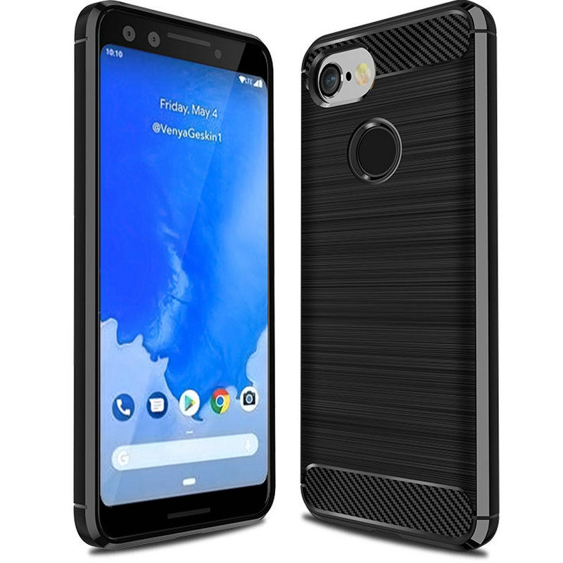 30Pcs/Lot Carbon Fiber Brushed Case For Google Pixel 3 XL Flexiable Stripe Rubber Case For Google Pixel 3