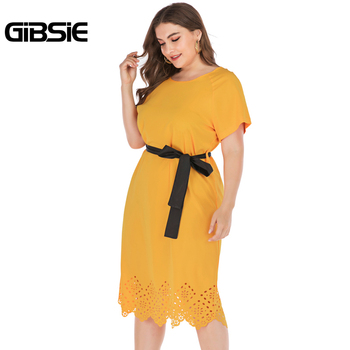 GIBSIE Plus Size Casual Solid Round Neck Short Sleeve Midi Dresses Summer Women Tunic Belted Hollow out Straight Dress