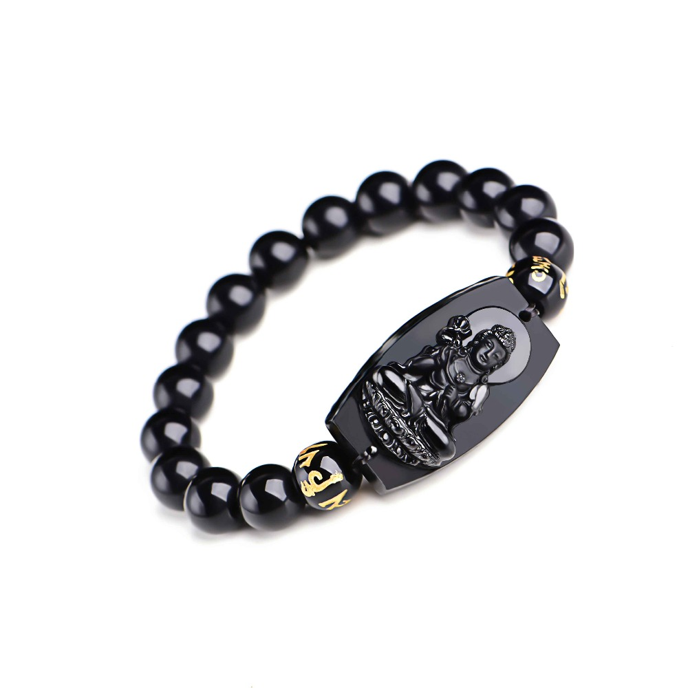 Natural Black Obsidian Buddha Bracelet 6
