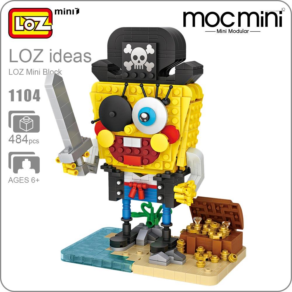 LOZ Mini Blocks Moc Bricks Chibi Dolls Pirate Captain Figurine Action Figures Toys Treasure Box DIY Building Assembly Model 1104
