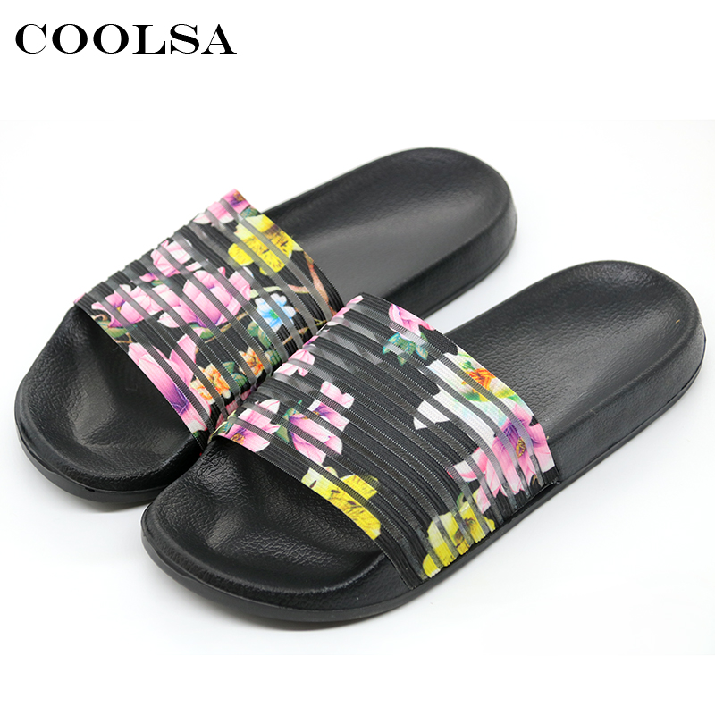 Coolsa New Summer Women Printing Slippers Elastic Band Sandals Flowers Stripe Flat Slides Girls Indoor Flip Flops Beach Sandals fongimic summer women flat shoes comfortable casual all match beach sandals high quality girl beach flowers elastic band sandals