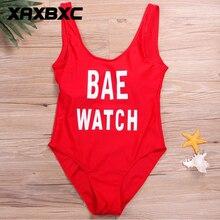 XAXBXC 2018 Summer BAE WATCH Letter Backless Padded Sexy One Piece Suit Monokini Swimsuit Swimwear Women Bathing