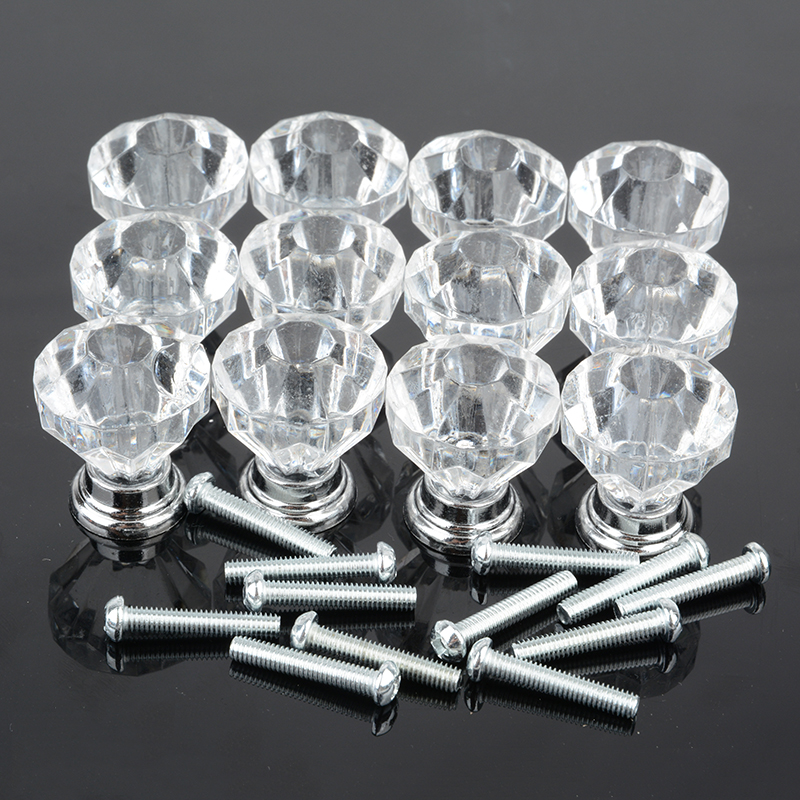12PCS Diamond Shape Crystal Glass Drawer Cabinet Knobs and Pull Handles Kitchen Door Handles Wardrobe Hardware MAYITR 10 pcs 30mm diamond shape crystal glass drawer cabinet knobs and pull handles kitchen door wardrobe hardware accessories