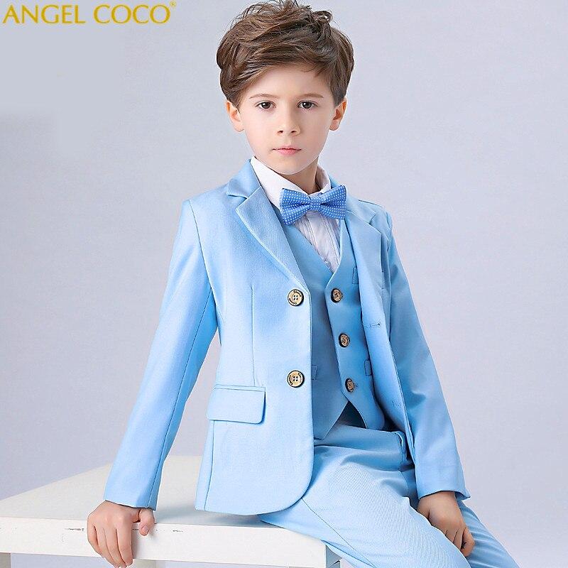 England Style Man Child Blue Boy Suit Tuxedos Boys Formal Suits Boys Formal Suits For Weddings
