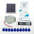 Fechadura da porta Kit sistema de Controle de Acesso + 180 KG Elétrica Fechadura Magnética + Alimentação + IC Teclado + Porta Bell + Keycards