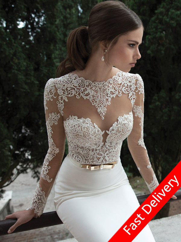 a9d37fcaac8f Prom Dress 2017 Fast Delivery White Long Sleeve Prom Dresses Long Sleeve  Lace Prom Dress Us Size 4 6 8 10 In Stock GK009-in Prom Dresses from  Weddings ...
