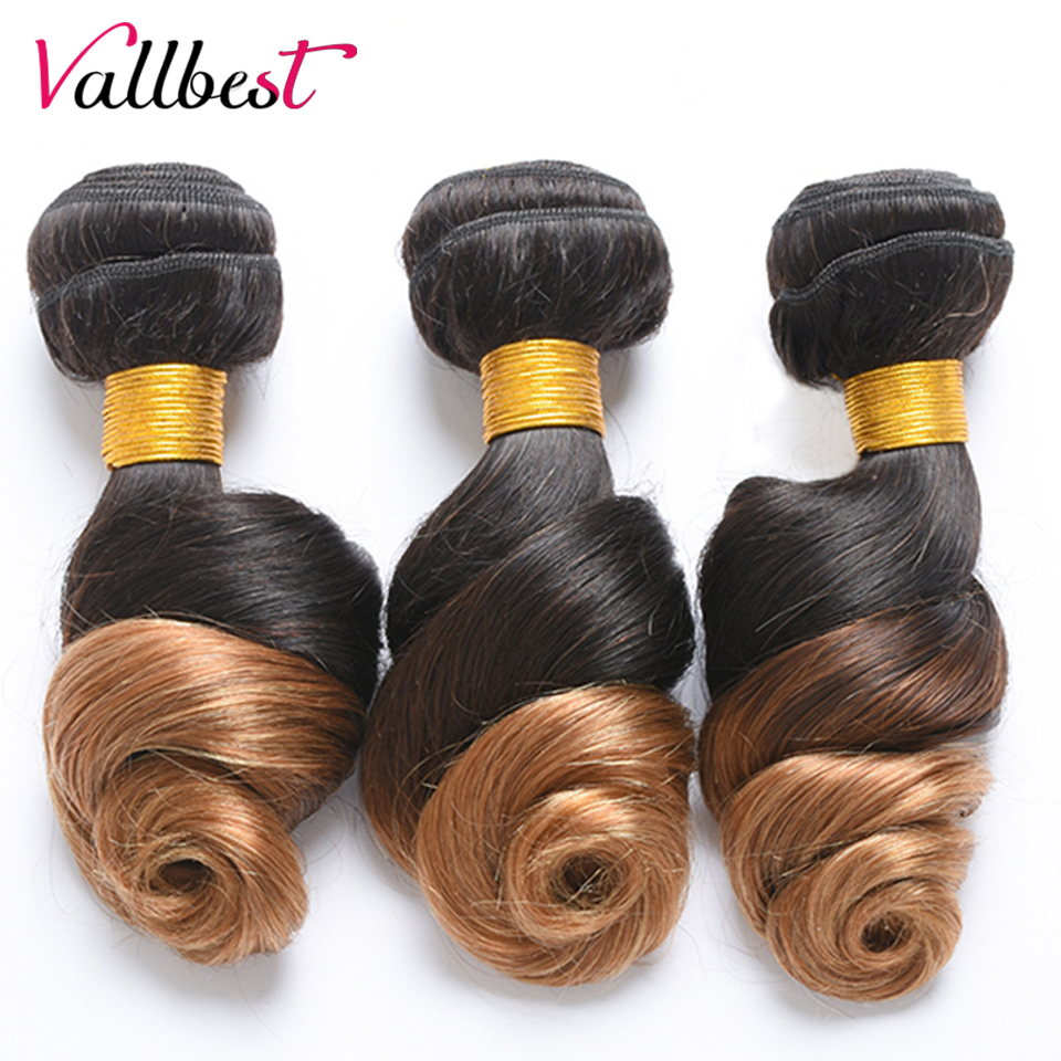 Vallbest 100% Human Hair Ombre Hair Bundles Loose Wave Brazilian Hair Weave 3 Bundles T1b/27 Non Remy Hair Weave Extensions