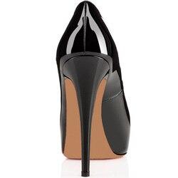 GENSHUO 14CM Heels Brand Shoes Women Platform High Heels Pumps Peep Toe Leather Red Wedding Shoes High Heels Big Size 4243 44 45 4