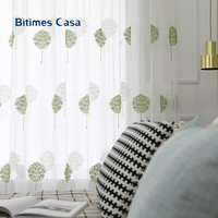 Embroidery Big Leaves Pattern Voile Windows Screen Tull For Livning Room Bedroom White Color Non toxic Home Decoration
