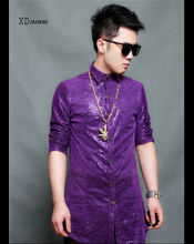 New model purple shiny easy informal shirt costume Europe and America nightclub mens singer costumes tide males's Hairstylist shirts