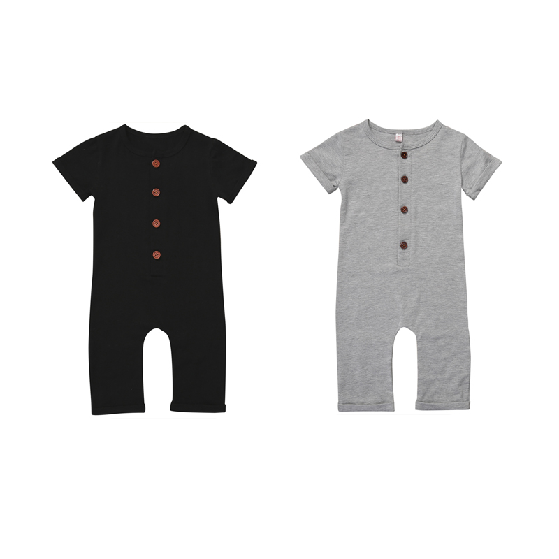 2017 0-24M 2Style Summer Newborn Toddler Baby Boy Girl Cotton Short Sleeve O-Neck Single Breasted Solid Romper Jumpsuit Playsuit infant newborn toddler baby boy girl clothes summer spring romper playsuit casual short sleeve clothes solid outfits 0 24m